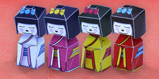 Japanese Doll Paper Model - paper, model, japanese , doll, craft