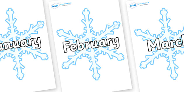 Months of the Year on Snowflake - Months of the Year, Months poster, Months display, display, poster, frieze, Months, month, January, February, March, April, May, June, July, August, September