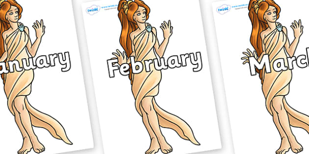Months of the Year on Aphrodite - Months of the Year, Months poster, Months display, display, poster, frieze, Months, month, January, February, March, April, May, June, July, August, September