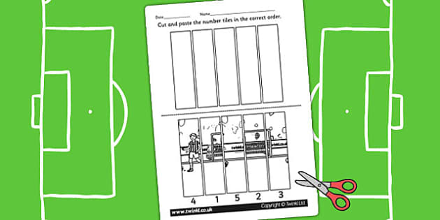 Football Themed Number Sequencing Puzzle - numbers, order, sort