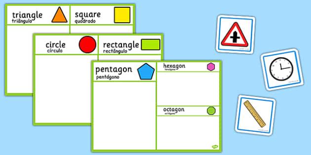 2D Shape Sorting Activity Portuguese Translation - portuguese, 2d shape, sorting, activity, 2d, shape