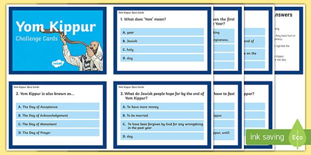 Yom Kippur Quiz Cards