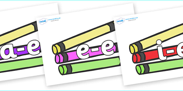 Modifying E Letters on Crayons - Modifying E, letters, modify, Phase 5, Phase five, alternative spellings for phonemes, DfES letters and Sounds