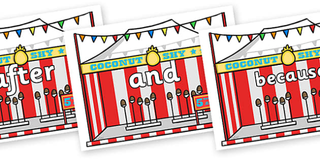 Connectives on Fairground Coconut Stands - Connectives, VCOP, connective resources, connectives display words, connective displays