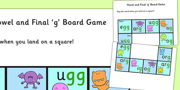 Vowel and Final 'G' Sound Board Game - final g, sound, game