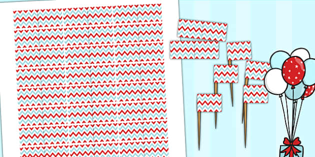 Zig Zag Birthday Party Toothpick Flags Red And Blue - birthdays