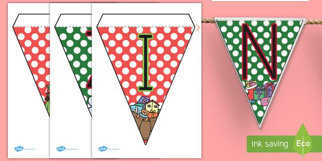 Feliz Navidad Banderitas de exposición - decoración de la clase, navideño, navidad, navideña,Spanish