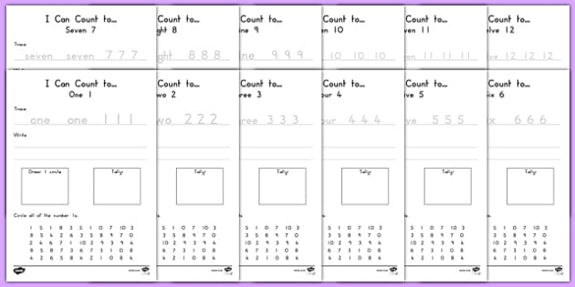 I Can Count... 1-20 Activity Sheets, worksheet