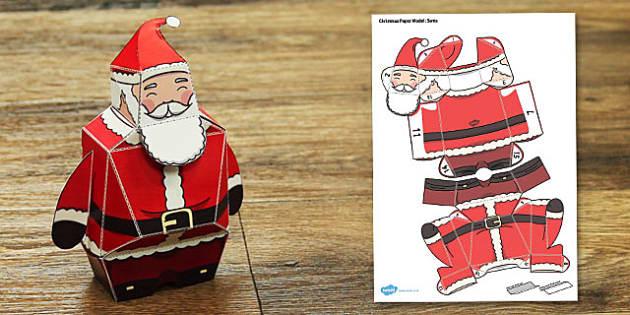 Christmas Paper Model Santa - Christmas, paper, model, santa