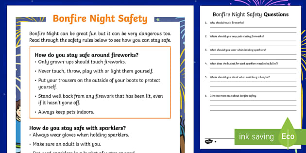 KS1 Bonfire Night Safety Differentiated Reading Comprehension Activity