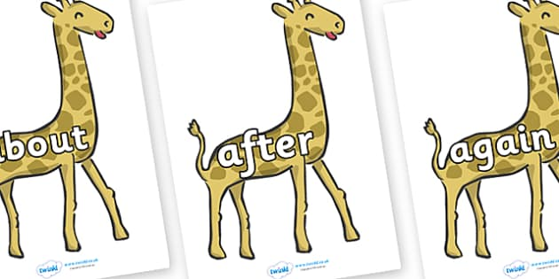 KS1 Keywords on Giraffes - KS1, CLL, Communication language and literacy, Display, Key words, high frequency words, foundation stage literacy, DfES Letters and Sounds, Letters and Sounds, spelling