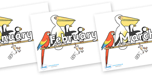 Months of the Year on Pets on a Perch to Support Teaching on The Great Pet Sale - Months of the Year, Months poster, Months display, display, poster, frieze, Months, month, January, February, March, April, May, June, July, August, September