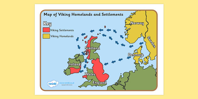 Viking Invasion Map - Vikings, England, invasion, invasion map, map, history, longboat, Scandinavian, explorers, Viking Age, longship, Norse, Norway, Wessex, Danelaw, York, thatched house, shield