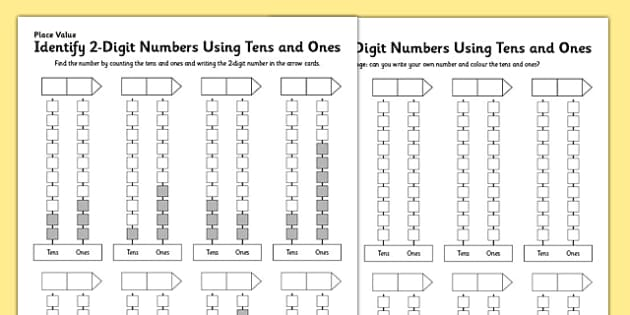 KS1 Maths Place Value Identify 2-Digit Numbers Using Tens and Ones Activity Sheet, worksheet
