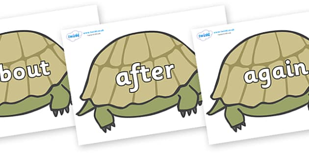 KS1 Keywords on Tortoises - KS1, CLL, Communication language and literacy, Display, Key words, high frequency words, foundation stage literacy, DfES Letters and Sounds, Letters and Sounds, spelling