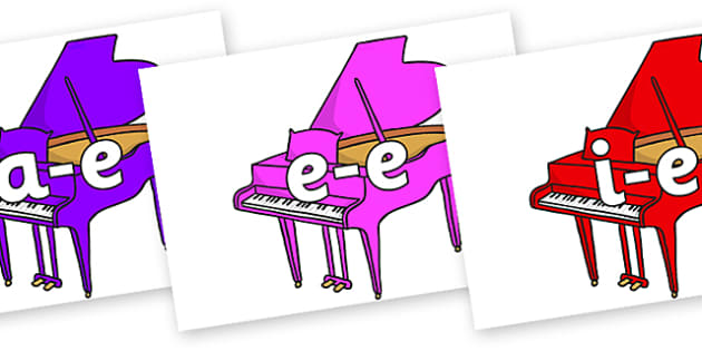 Modifying E Letters on Baby Grand Pianos - Modifying E, letters, modify, Phase 5, Phase five, alternative spellings for phonemes, DfES letters and Sounds