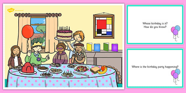Birthday Party Scene and Question Cards - birthday party, questions, comprehension pack