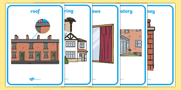 Parts Of A House Display Posters - house, different parts, poster, banner, sign, display, front, roof, guttering, front door, windows, chimney, fence, garage, garden