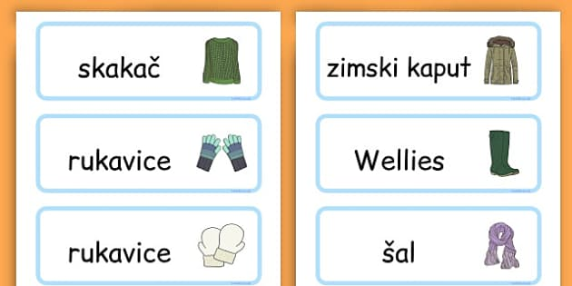 Winter Clothes Word Cards - winter clothes, word cards, winter, clothes - Bosnian