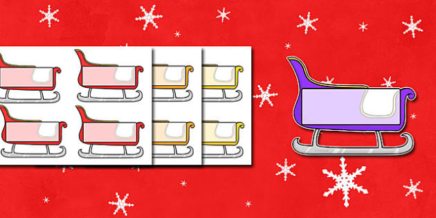 Christmas Editable Self Registration Sleighs - self registration, self-registration, editable, editable labels, christmas sleigh, editable sleigh, editable christmas sleigh, editable self registration labels, labels, registration, child name label, n