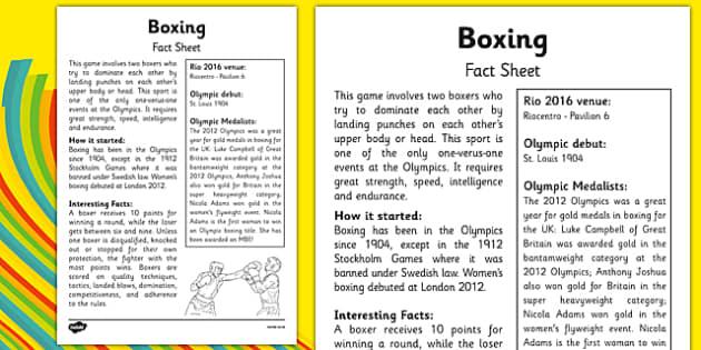The Olympics Boxing Fact Sheet - the olympics, rio 2016, rio olympics, 2016 olympics, boxing, fact sheet