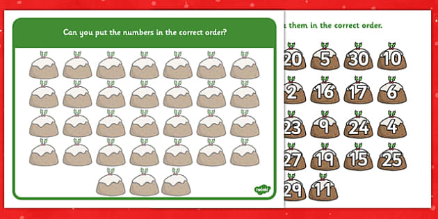 1-30 Christmas Number Ordering Christmas Puddings - christmas, number, ordering, christmas pudding