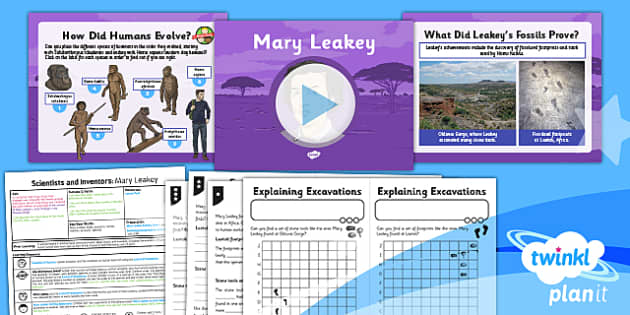 PlanIt - Science Year 6 - Scientists and Inventors Lesson 5: Mary Leakey Lesson Pack - Mary Leakey, fossils, evolution, human