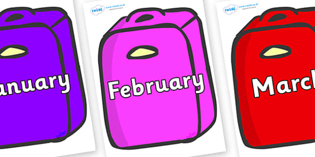 Months of the Year on Suitcases - Months of the Year, Months poster, Months display, display, poster, frieze, Months, month, January, February, March, April, May, June, July, August, September