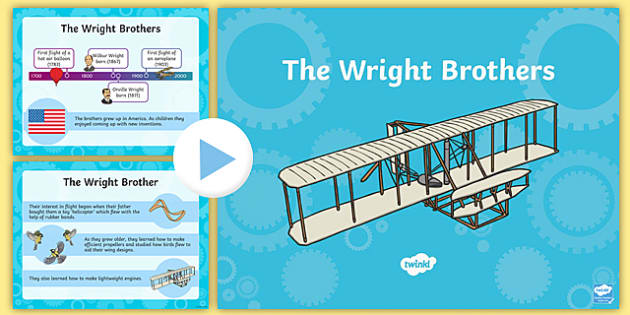 The Wright Brothers Information PowerPoint - Wright, brothers, aviation, flight, inventors, invention