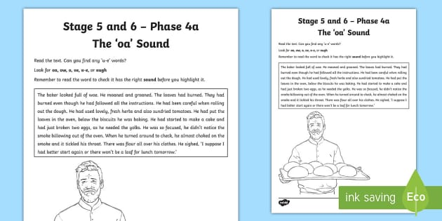 Northern Ireland Linguistic Phonics Stage 5 and 6 Phase 4a 'oa' Activity Sheet  - Ni, Worksheet, sound search, word sort, investigation