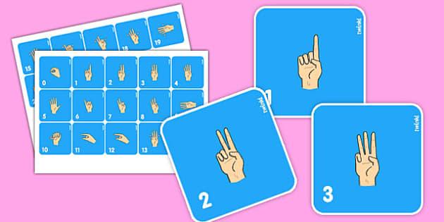 British Sign Language 0-20 Flash Cards (Signer's View) - flashcards, sign, number
