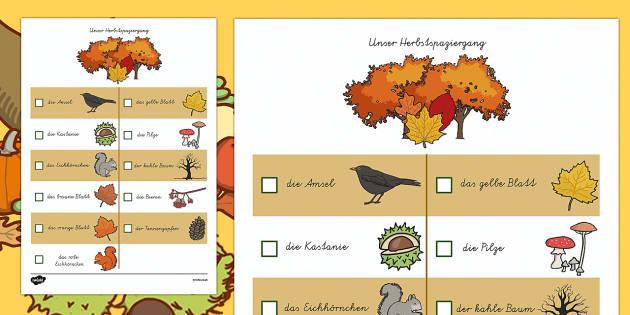 Herbst Spaziergang Was kannst du sehen Arbeitsblatt