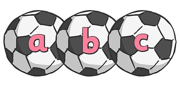 A-Z Alphabet on Footballs - Alphabet frieze, Letter posters, Display letters, A-Z letters, Alphabet flashcards, football, soccer, footballs, sport, world cup