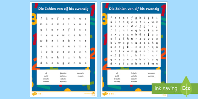 Numbers 11 to 20 Word Search German - Numbers, Counting, German, maths, numeracy, mfl, modern foreign language, ks1, ks2, activity, game,