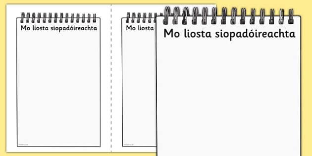 My Shopping List Writing Frames Gaeilge - irish , gaeilge , shopping , list , writing , template , role play , drama , aster , siopadóireacht