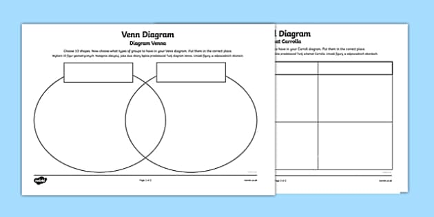 Shapes Carroll and Venn Diagram Activity Sheets Higher Ability English/Polish