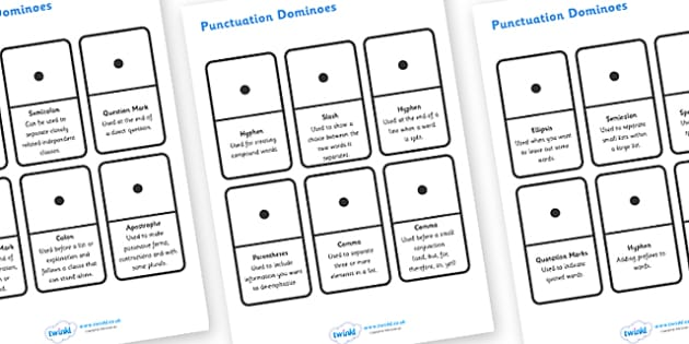 Punctuation Dominoes - punctuation dominoes, punctuation, punctuation marks, dominoes, game, fun, activity, grammar, learning, practicing