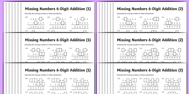 Addition 6Digit Missing Numbers Differentiated Activity Sheet – Missing Number Addition and Subtraction Worksheets