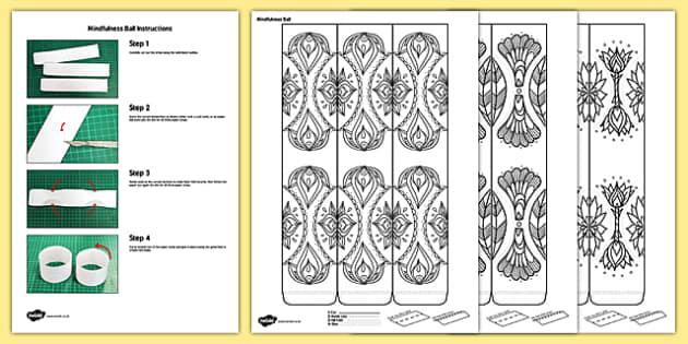 Mindfulness Colouring Decorative Balls - calm, stress relief, art, decoration, adult, colours , pattern