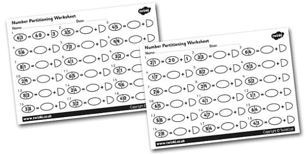 Tens and Ones Number Partitioning Activity Sheet number – Subtracting Tens and Units Worksheets