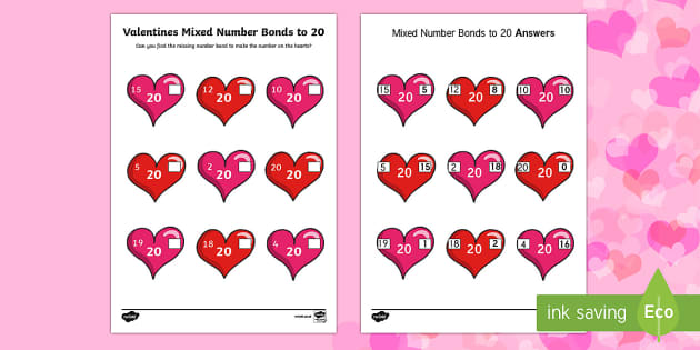 Valentine's Day Heart Mixed Number Bonds to 20 Activity Sheet - Valentine's Day,  Feb 14th, love, cupid, hearts, valentine, number bonds, number bonds to 20, works