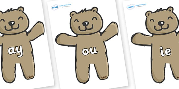 Phase 5 Phonemes on Teddy Bears - Phonemes, phoneme, Phase 5, Phase five, Foundation, Literacy, Letters and Sounds, DfES, display