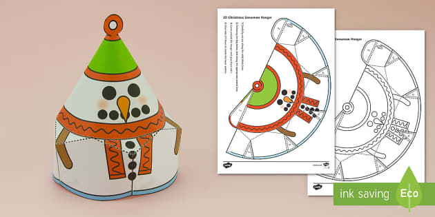 Simple Christmas Hanging Cone Snowman Decoration Activity Paper Craft