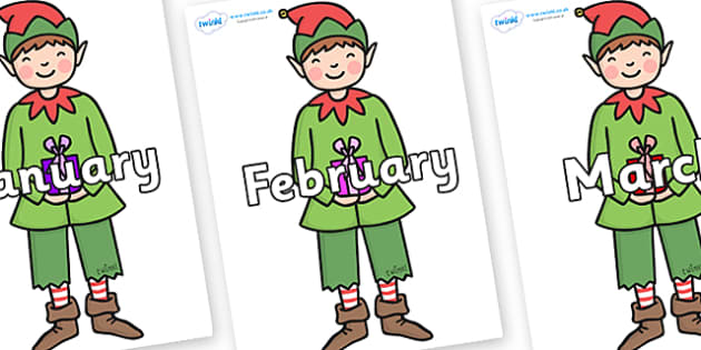 Months of the Year on Green Elf (Boy) - Months of the Year, Months poster, Months display, display, poster, frieze, Months, month, January, February, March, April, May, June, July, August, September