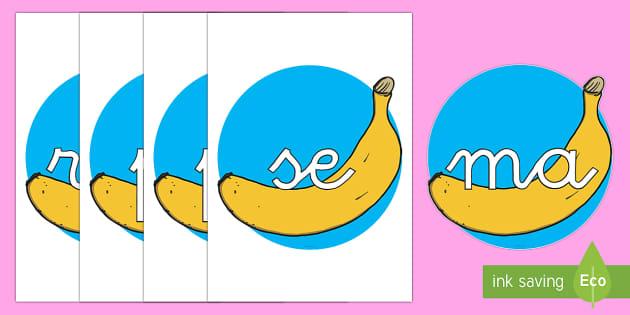 Tarjetas de sílabas: Plátanos - lecto, leer, primeros sonidos, comida, fruta - lecto, leer, primeros sonidos, comida, fruta