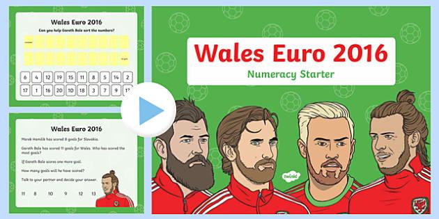 Euro 2016 Wales Numeracy Starter Nursery Reception PowerPoint-Welsh