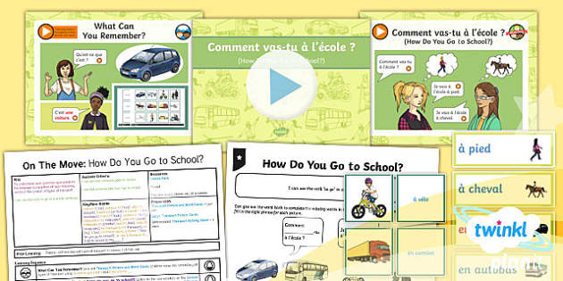 PlanIt - French Year 4 - On the Move Lesson 2: How Do You Go to School? Lesson Pack - french, languages, transport, school, vehicles