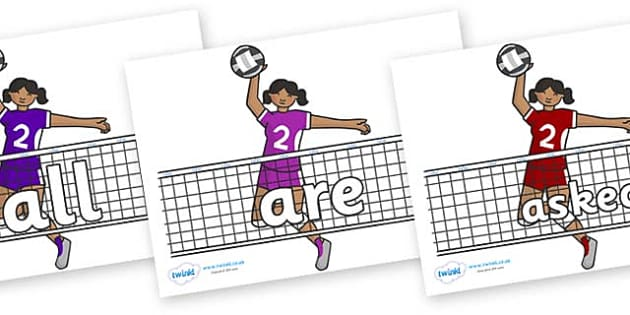 Tricky Words on Volleyball - Tricky words, DfES Letters and Sounds, Letters and sounds, display, words