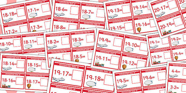 Subtraction to 20 Sum Cards - subtraction, 20, cards, numbers, maths