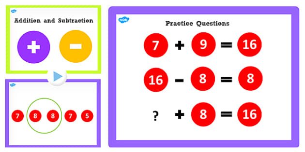 Addition and Subtraction Facts to 16 PowerPoint - add, subtract